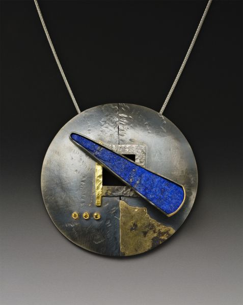 Lapis neckpiece by Roger Rimel | Sterling, fused gold on sterling, Lapis,yellow sapphires, formed, chased. Lapis passes through center to create toggle clasp