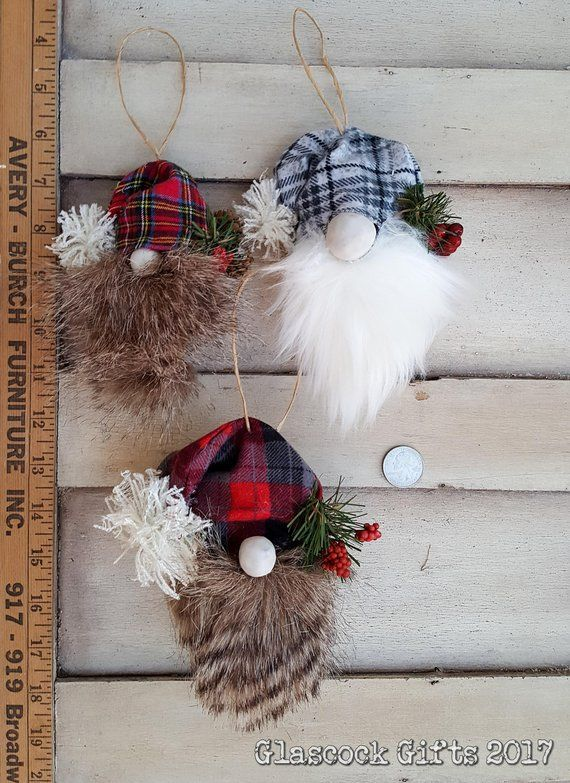 Pick 2 Woodland Christmas Gnome Pine Cone Ornaments