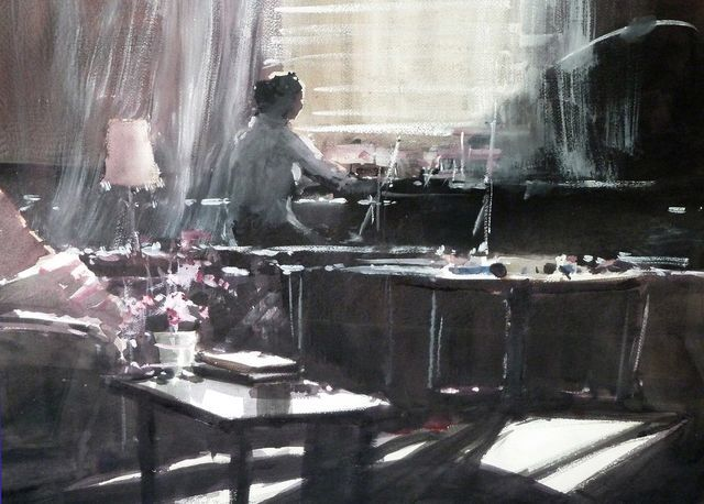 Amanda Hyatt: Girl at the Window, Watercolour, 74 x 54cm