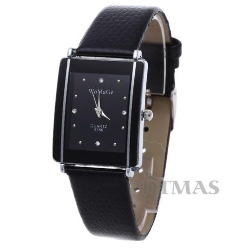 Fashion-Leather-Women-Lady-Sport-Quartz-Wrist-Watch-Analog-Gift-Black-New