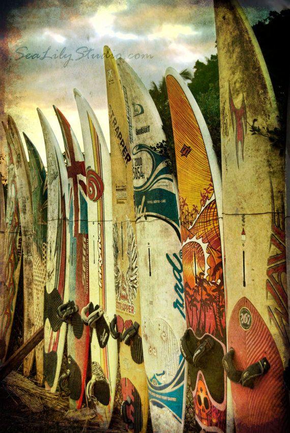 Surf City 8x12 : surf photo surfboard photography beach surfer print maui hawaii summer yellow gold home decor