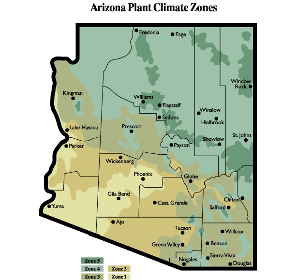 Arizona Plant Climate Regions, AZ Master Gardener Handbook