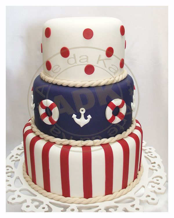 Bolo Marinheiro boia e ancora: Cakes Ideas, Nautical Cakes, Scenic Cake, Sailors Cakes, 1St Birthday, Marinheiro Boia, Bolo Marinheiro, It Was Fake, Birthday Cakes