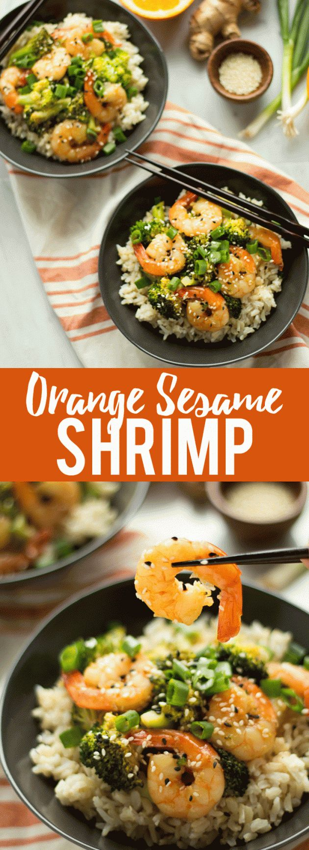 This healthier Orange Sesame Shrimp is a quick and flavorful weeknight dinner!
