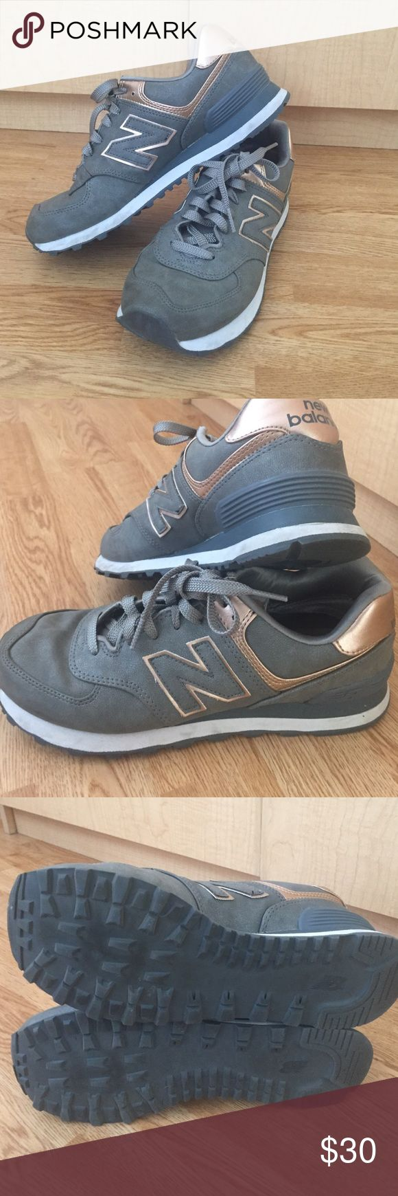 New Balance: 574 Sneakers// Leather grey sneakers with rose gold accents. Super comfortable, only worn a couple times! Price as listed! New Balance Shoes Sneakers