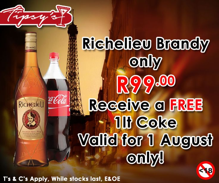 Receive a free 1ltr Coke when you buy a 750ml bottle of #Richelieu Brandy for only R99.00, from #TipsysLiquorBoutique . For more great specials, please click here: http://ablog.link/3go. Prices valid only for 1 August 2015 or while stocks last, T's & C's Apply, E & OE. Not for Sale to Persons Under the Age of 18. Drink Responsibly.
