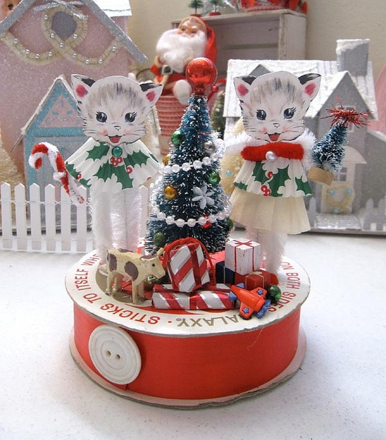 Two Little Kittens Trim the Tree Christmas Decoration  #cute