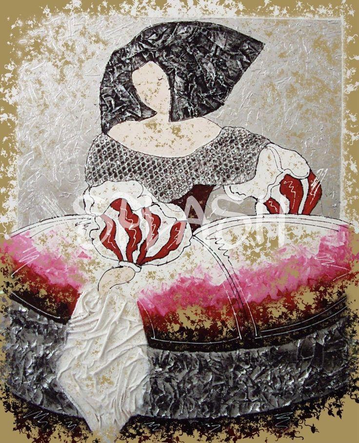 Cuadro de Menina moderna con fondo sepia y colores rojos y plata