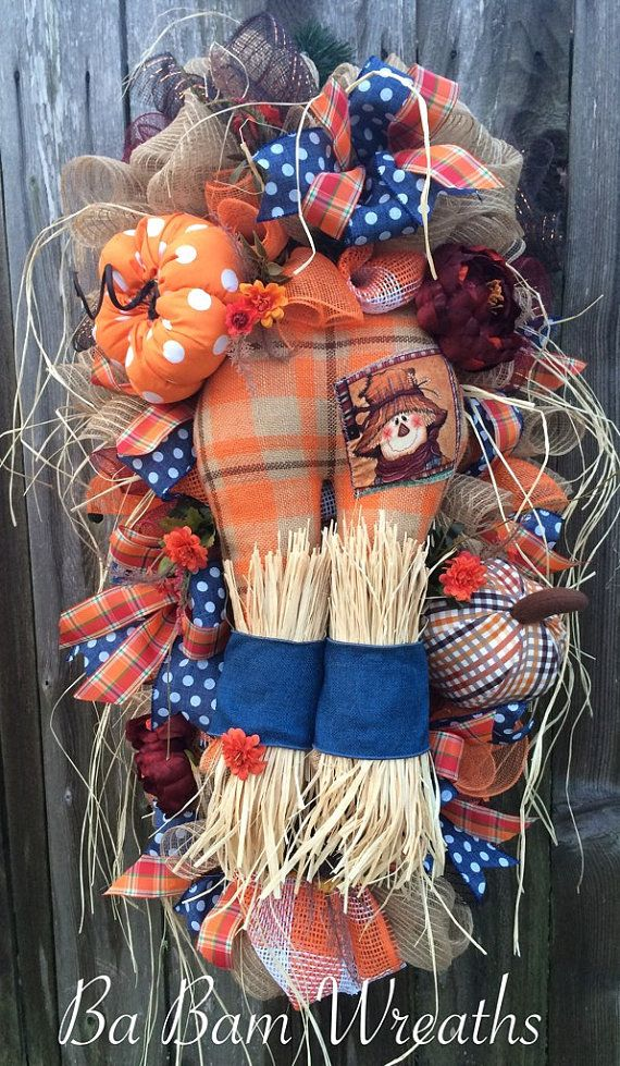 Fall Swag, Autumn Swag, Fall Wreath, Autumn Wreath, Scarecrow Wreath, Halloween…