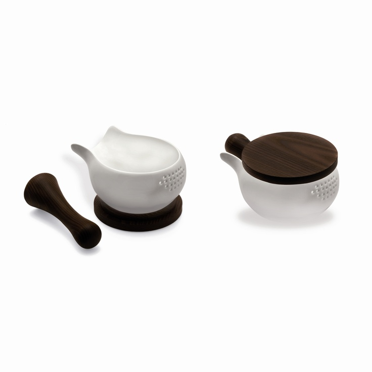 $125  This Pinch Mortar by Legnoart is a bio-finished wood and soft porcelain bowl...my fav!