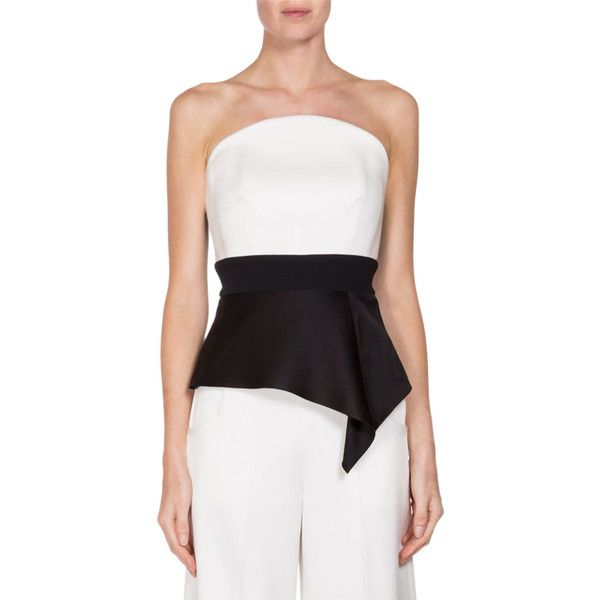 Roland Mouret Penn Strapless Peplum Bustier Top (€300) ❤ liked on Polyvore featuring tops, strapless peplum top, strapless bustier top, white bustier, zipper top and zip top