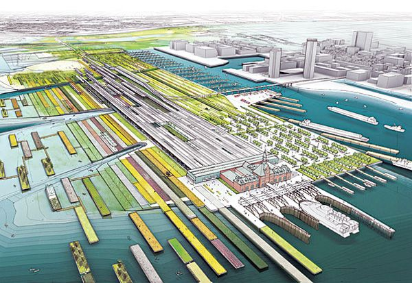 "LTL Architects proposed an ""amphibious landscape continually activated by rising tides""for NYC."
