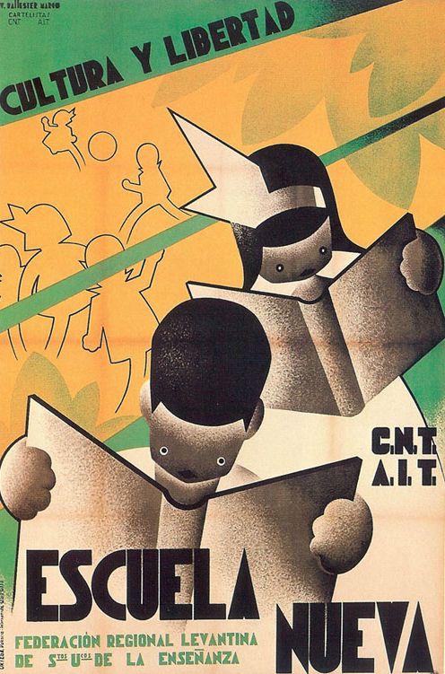 By Vicente Marco Ballester, ca 1937, Escuela nueva, Republican poster Spanish Civil War. (Spain)
