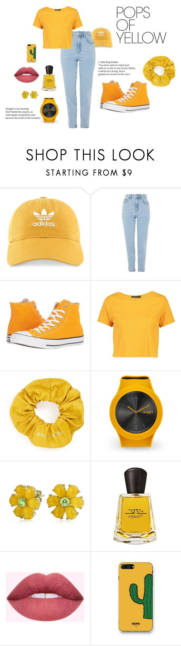 """""""Hello Yellow"""" by freesea ❤ liked on Polyvore featuring adidas, Topshop, Converse, Boohoo, Balenciaga, Bling Jewelry, Frapin, WithChic, PopsOfYellow and NYFWYellow"""
