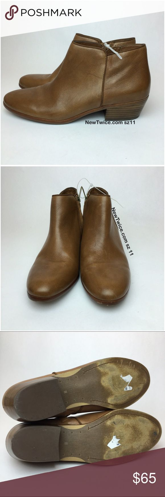 Sam Edelman Petty cognac tan leather ankle bootie Good condition. Leather upper. Side zipper entry. Light scratches from being handled.📸photos are of the actual item📦 We are able to offer you a great price because we don't spend extra money on tissue paper and pretty bows. Our goal is to get the item to you safely and to save the planet!   Please consider our efforts before rating us down for packaging :( Sam Edelman Shoes Ankle Boots & Booties