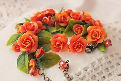 Bracelet & Earrings Jewelry Set / Flowers Red Roses / Handmade