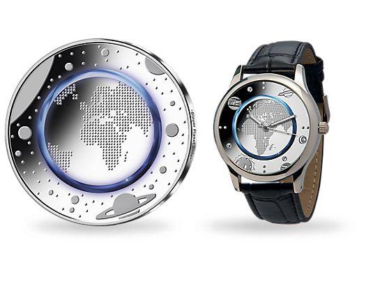 Deutschlands erste 5-Euro-Münze im fantastischen Set Blauer Planet Erde. Inklusive edler Armbanduhr im passenden Münz-Design! Via www.mdm.de