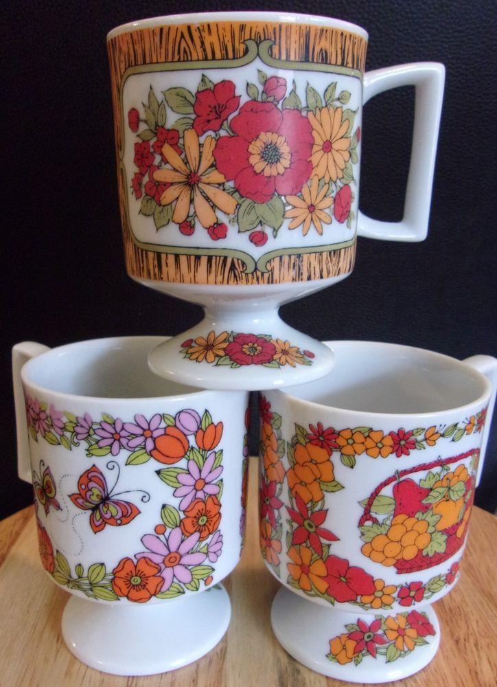 Vintage Coffee Cup Mugs Orange with pedastal