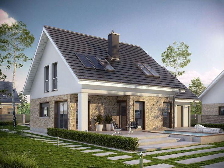 Pedro G1 ENERGO to projekt domu energooszczędnego z poddaszem, przeznaczony dla 4-5 osobowej rodziny. Na elewacji dominuje surowa biel, która wspólnie z chłodem kamienia tworzy elegancki duet.