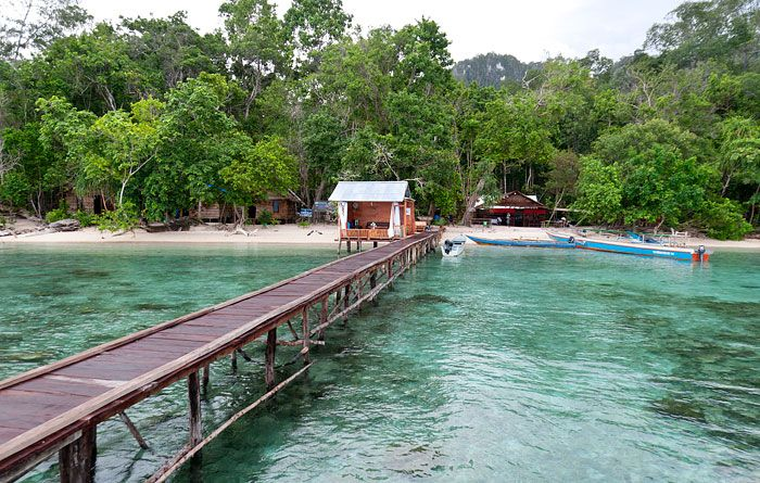Information, prices, photos and reviews of Kamar Raja Homestay, traditional Papuan accommodation at West Waigeo in West Papua's Raja Ampat islands