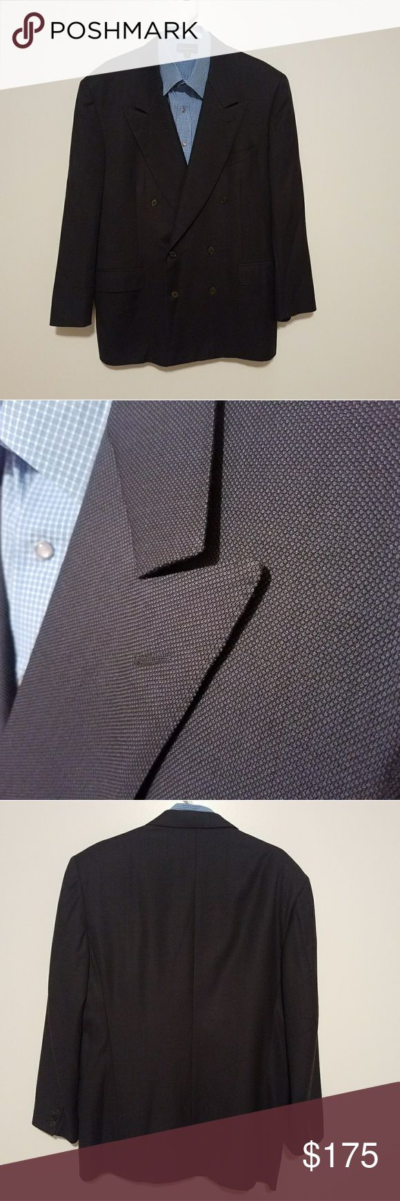Canali Dark Blue 44R Double Breasted Sports Coat Gently worn and well taken care of. Made in Italy. It has some wear noticibale on the inside pocket. No other rips, tears, stains or other imperfections were found.  ***SHIRT NOT INCLUDED***  Measurements taken while laying flat: Size: 54R EUR/44R US Color: Dark Blue Material: 100% Wool Chest (Underarm to Underarm): 24 Waist: 21.5 Length (From Bottom of Collar): 31 Sleeves (Top of shoulder to end of cuff): 24 Shoulders (Seam to seam): 20 Vent…