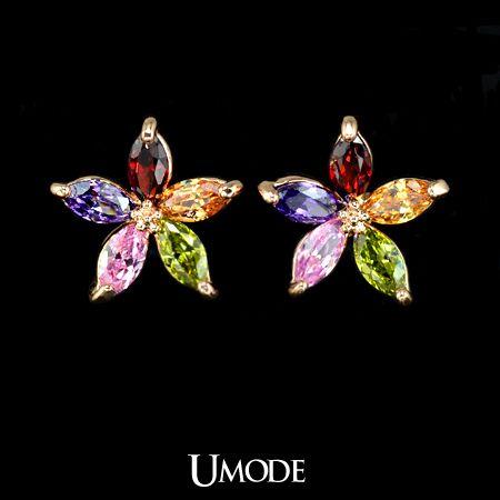 5 pcs Marquise-cut multicolored Swiss CZ Sun Flower Stud Earring (Umode UE0021) $5.19