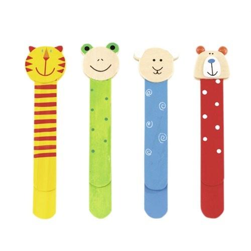 """segnalibri in legno """"funny animals"""", 4-parti assortiti: con divertenti teste di animali e righello sul retro della clips"""