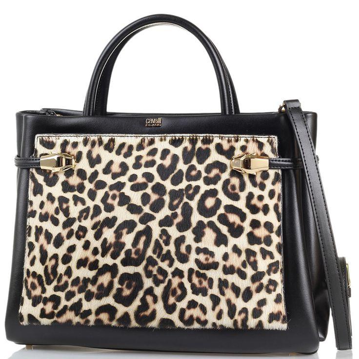 Сумка Cavalli Class Pandora Bag черного цвета с внешним карманом из меха с леопардовым принтом
