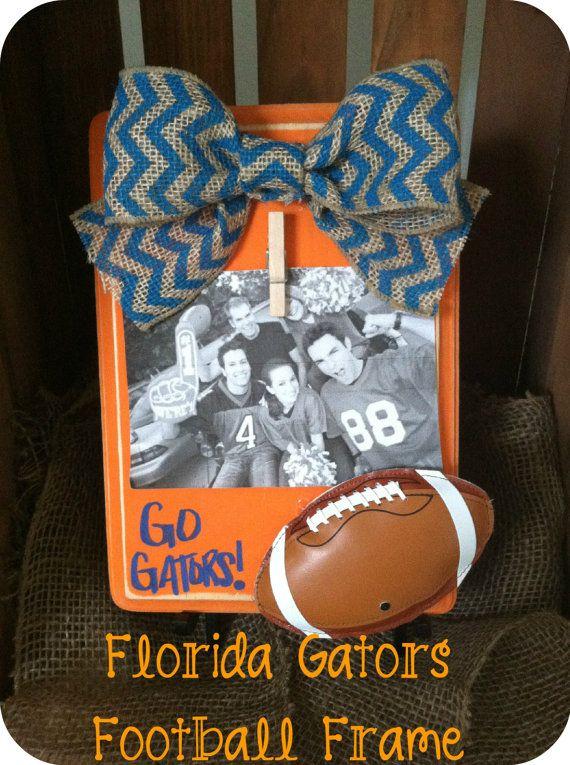 Florida Gators Football Picture Frame-Rustic-Blue Chevron-UF Frame on Etsy, $21.95