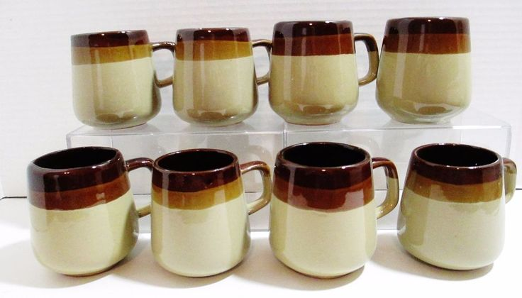 Set of 8 Stoneware Glazed Coffee Tea Cups - Triple Dipped Brown Mugs #Unbranded ..... Visit all of our online locations ..... (www.stores.eBay.com/variety-on-a-budget) ..... (www.amazon.com/shops/Variety-on-a-Budget) ..... (www.etsy.com/shop/VarietyonaBudget) ..... (www.bonanza.com/booths/VarietyonaBudget ) .....(www.facebook.com/VarietyonaBudgetOnlineShopping)