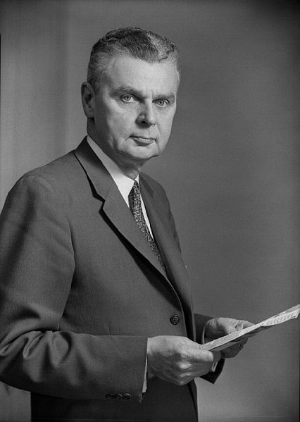 Hon. John Diefenbaker.....18th Prime Minister of Canada from 1957 - 1963.  While in office: Avro Arrow cancellation; Coyne Affair; Cuban Missile Crisis; NORAD; Canadian Bill of Rights; Allowed status aboriginals to vote in federal elections 1960; Alouette 1 satellite programme.