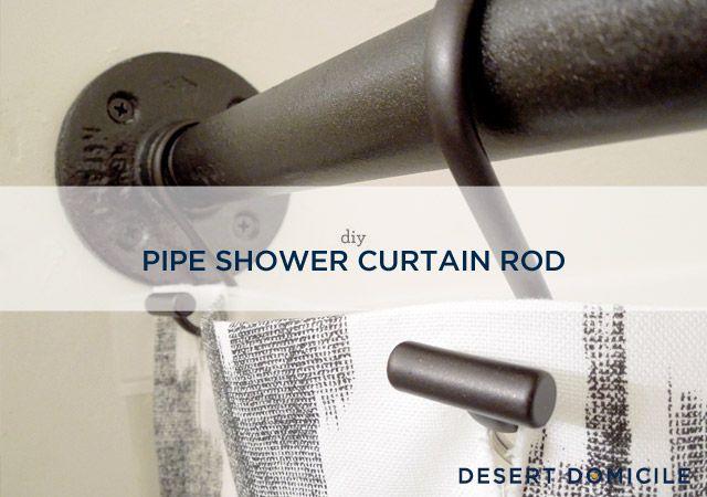 DIY Pipe Shower Curtain Rod - via Desert Domicile