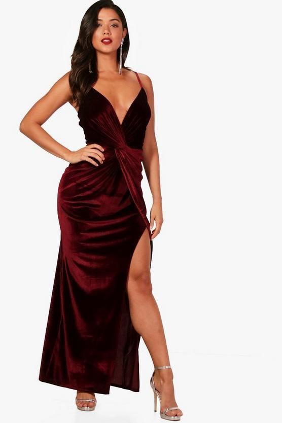 d24e82fd75ee3 Boohoo Ellie Velvet Twist Detail Wrap Maxi Dress Red Size UK 8 DH182 DD 05  #fashion #clothing #shoes #accessories #womensclothing #dresses (ebay link)