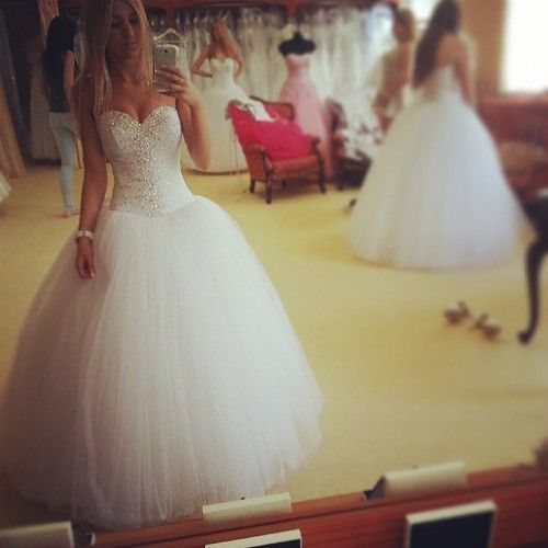 Fantastic Beaded White Ball Gown Sweetheart by SpcialDresses