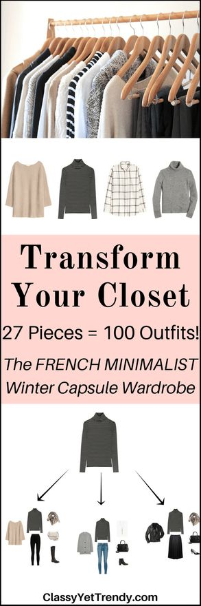 The French Minimalist Capsule Wardrobe: Winter 2017 Collection - Transform your closet using a black sweater, windowpane shirt, camel cardigan, camel coat, black pleated skirt, gray ponte skirt, beige cardigan, white tee, black tee, striped turtleneck, striped top, gray turtleneck sweater, black jeans, black leggings, gray jeans, gray dress pants and beige tunic sweater.