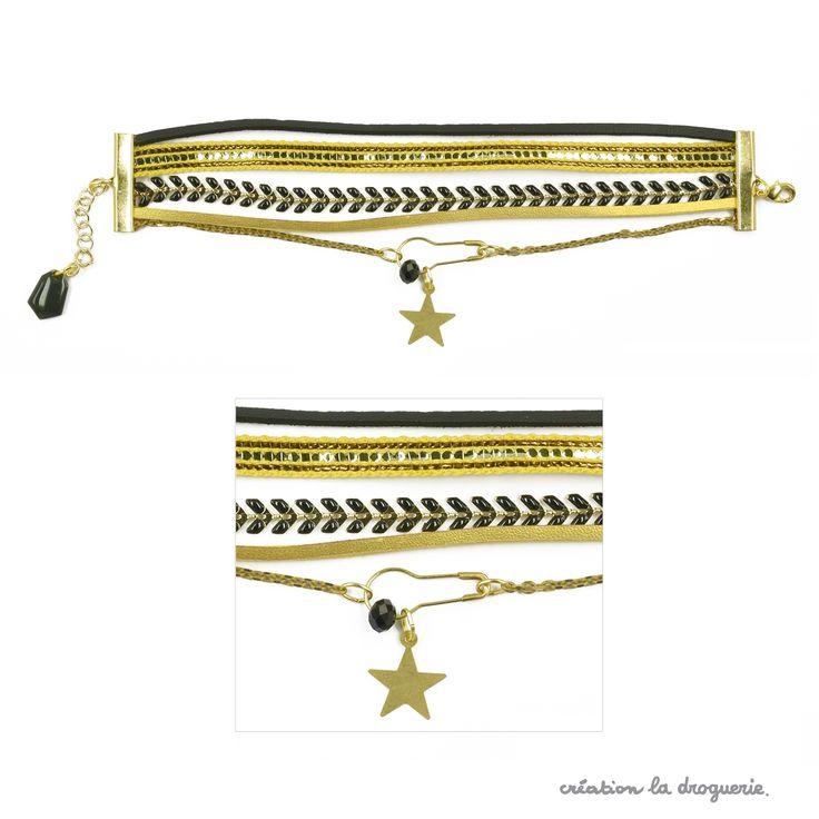 Des rubans dorés, des chaînes et des breloques, un ensemble idéal pour réaliser un bracelet multi-rangs. En plus, on règle la taille facilement, grâce à la petite chaîne de rallonge. #ladroguerie #bijoux