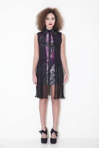 Batik chiffon silk mesh shirt dress