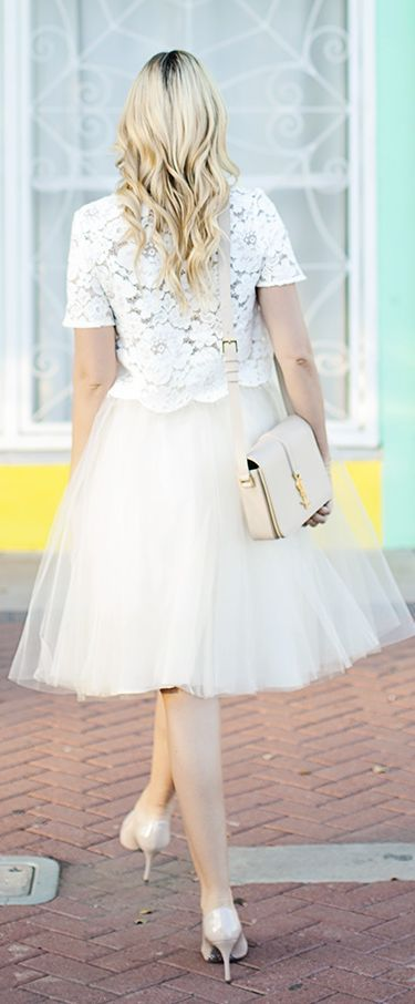 White Tutu A-skirt by A Little Dash Of Darling