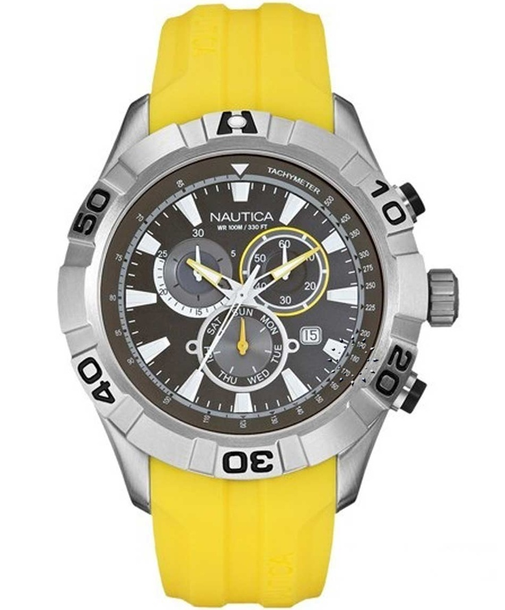 NAUTICA 100M Chronograph Yellow Rubber Strap Μοντέλο: A18628 Η τιμή μας: 178€ http://www.oroloi.gr/product_info.php?products_id=33938