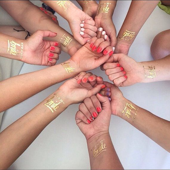Bachelorette party tattoo, Team Bride tattoo © Set of 12, Bachelorette tattoos, Gold bachelorette temporary tattoos, Gold bridal party favorSina Marks