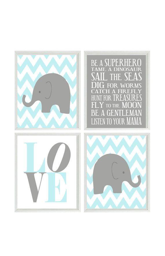 Nursery Art Elephant Chevron Baby Boy Prints Gray Aqua Wall Love