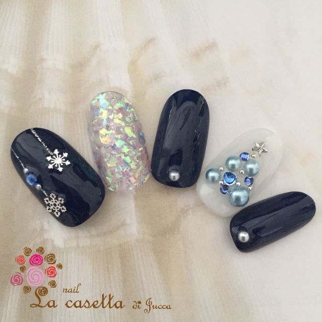 ♡Christmas nail in black and blue