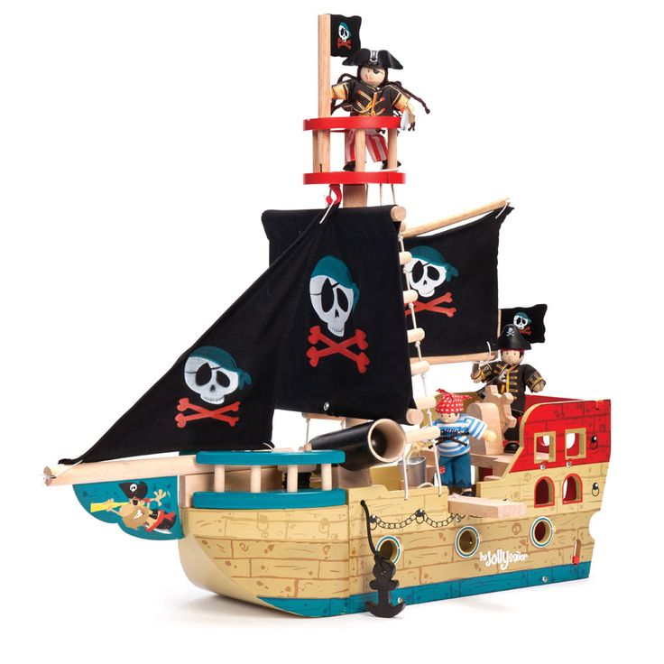 From Le Toy Van, this jolly painted wooden pirate ship with the fabric sails makes a great gift for any pirate adventurers.   http://www.english-heritageshop.org.uk/toys-games/activity/le-toy-van-jolly-pirate-ship
