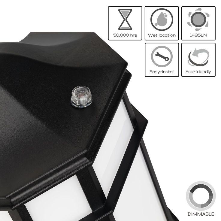 23W Dusk to Dawn LED Outdoor Wall Light,Energy Star,3000K, Silver aluminum