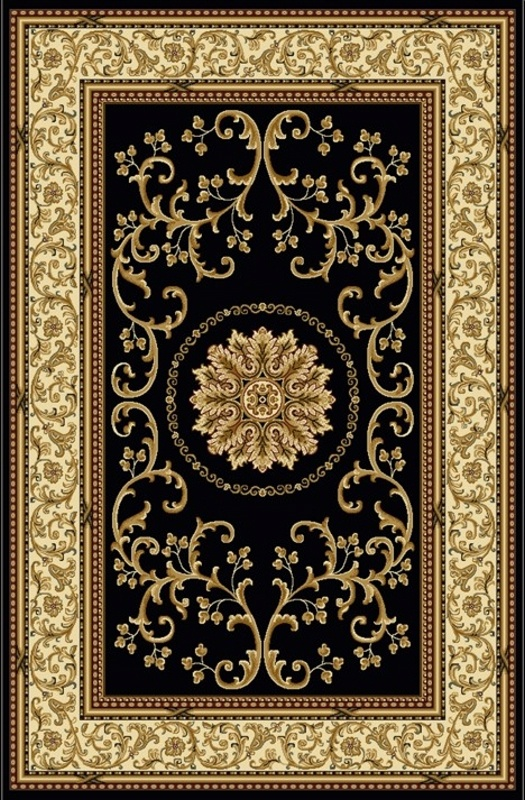 Noble Black Traditional Polypropylene Machine Made Rug - Radici | Rugs by SelectRugs.com
