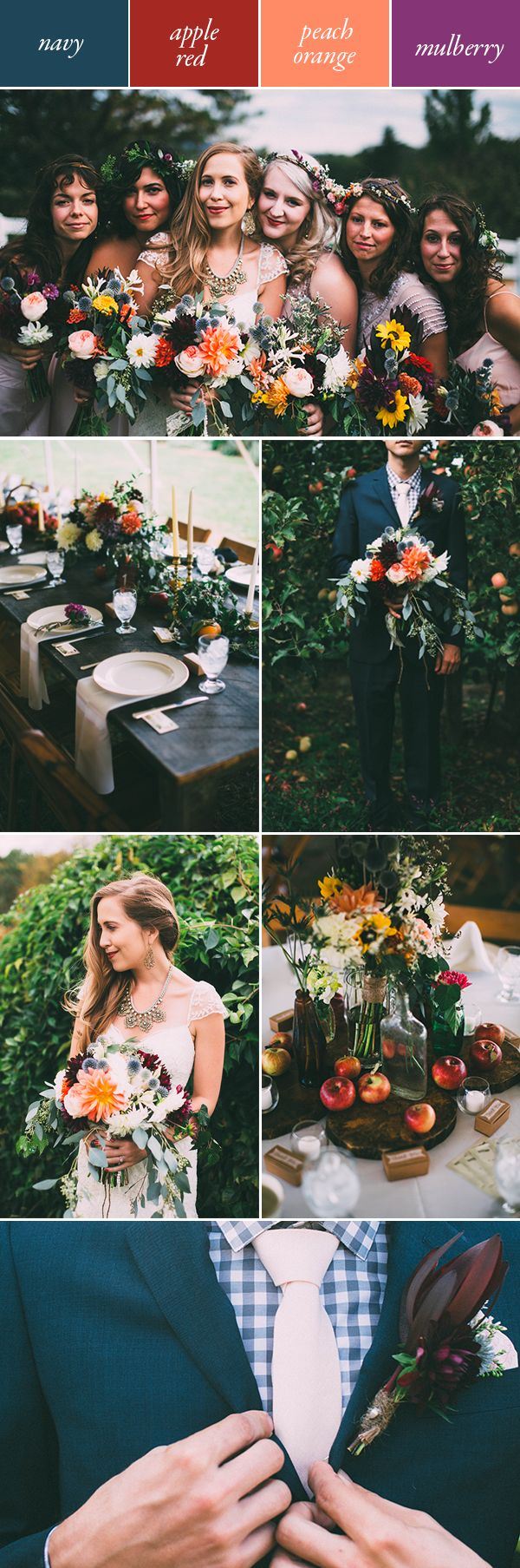 Looking for a vibrant, yet soulful color palette? A navy, red orange, and purple combination works wonders   Image by Chelsea Diane Photography