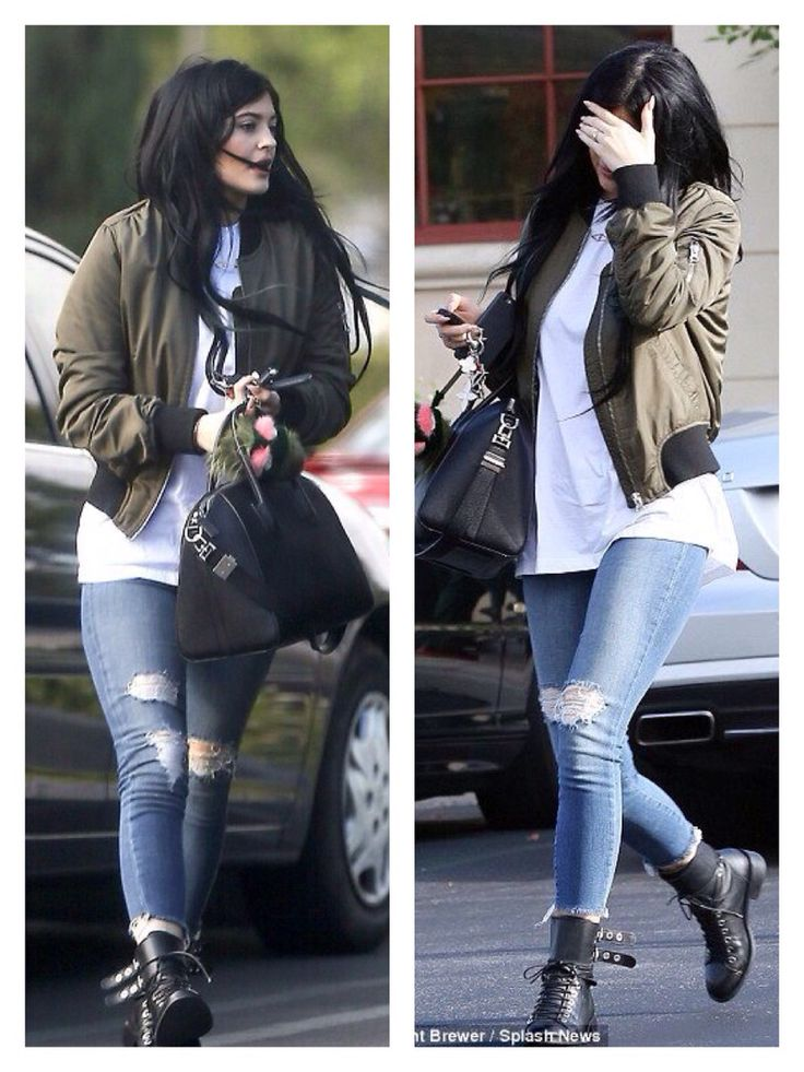 Kylie Jenner Topshop Military Green Bomber Jacket Street Style October 2014 Fashion