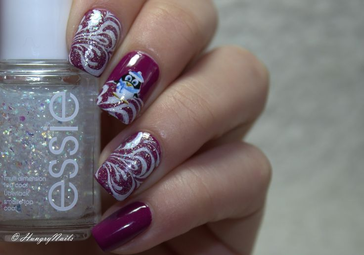 Cute Winter Design with Stamping and Water Decals