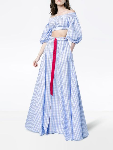 GABRIELLE'S AMAZING FANTASY CLOSET   Adam Selman's Sky Blue and White Cotton Gingham Maxi-Skirt has a Full A-Line Silhouette with a Front Button Closure, Patch Pockets and a D-Ring Belt that trails a Long, Red Tail. The Cropped, Off-The-Shoulder Top has Balloon Half-Sleeves and Smocked, Elastic Neckline and Hems. Bling it with Pink Jade Dangle Earrings and a Blue Intaglio Ring. Add a White Woven Hat, A Parrot Straw Bag and White Mules to finish (It's all on this board). I Love this…