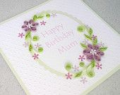 Quilled birthday card for mum, mom, paper quilling, handmade